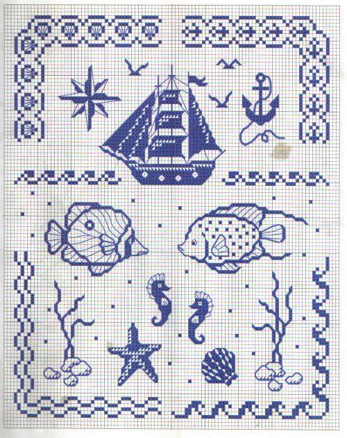 models point de croix mer poissons