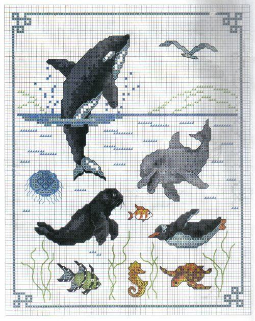 Models point de croix mer poissons - Grille point de croix mer ...
